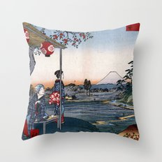 The Teahouse with the View of Mt. Fuji at Zōshigaya Throw Pillow