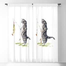 Cat with a Fish Blackout Curtain