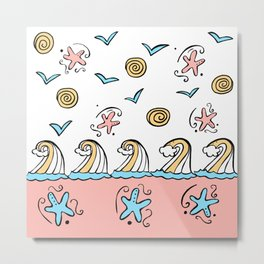 Doodle Waves Starfish - Peach Blue Yellow Metal Print