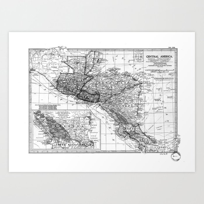 image about Printable Map of Central America identify Classic Map of Central The us (1902) BW Artwork Print as a result of bravuramedia
