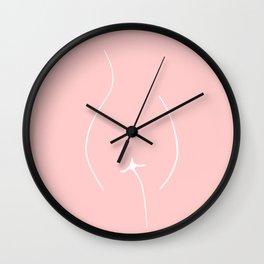 One Line Art Female Body Blush Pink Wall Clock