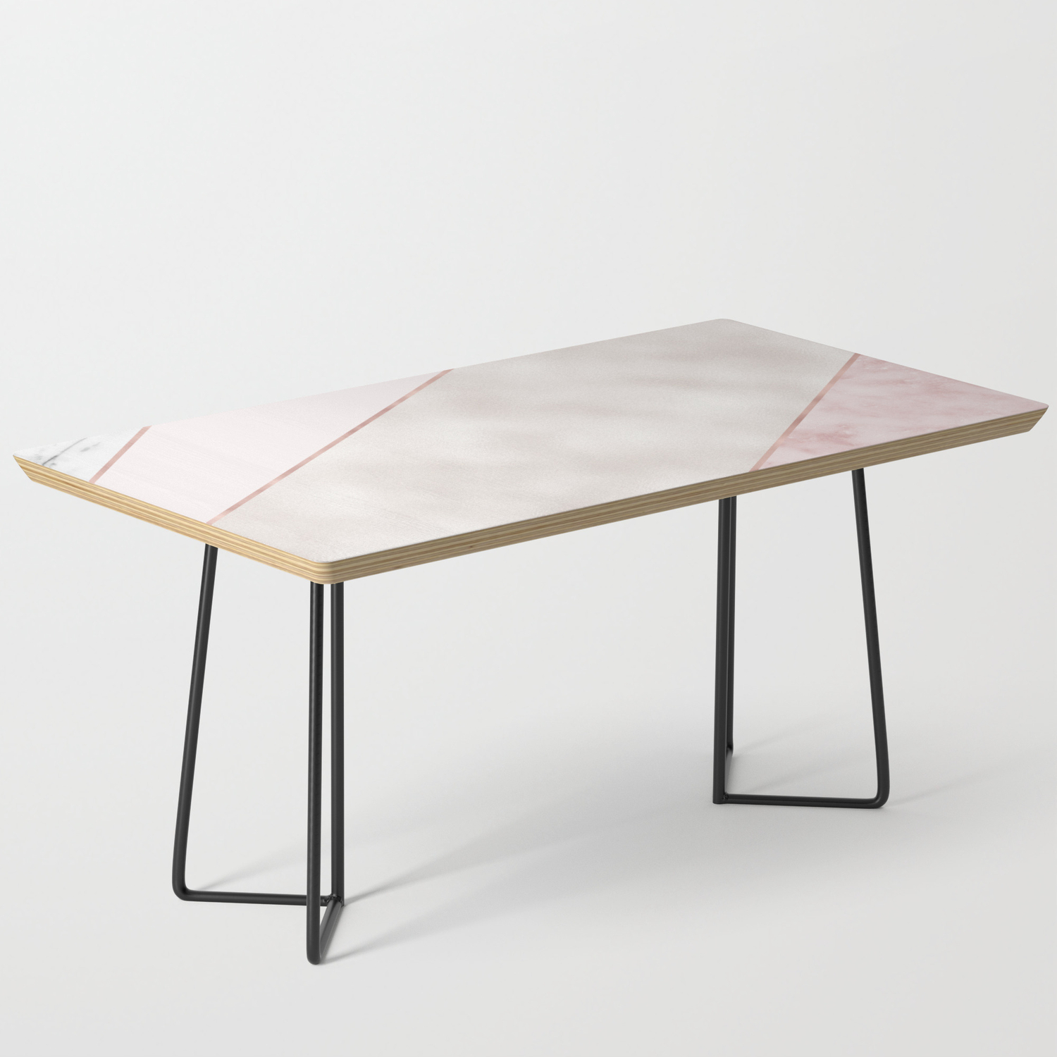 - Spliced Mixed Pink Marble And Rose Gold Coffee Table By Marbleco