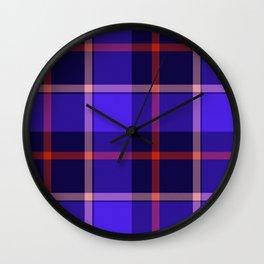 Blue Tartan Print Wall Clock