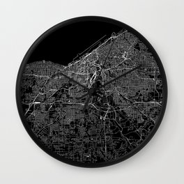 Cleveland Black Map Wall Clock