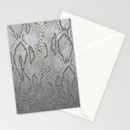 Shimmer (Silver Snake Glitter Abstract) Stationery Cards