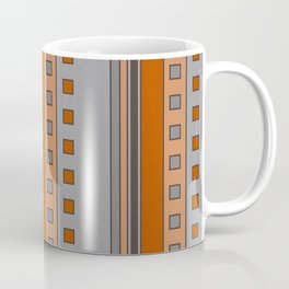 Squares and Stripes in Terracotta and Gray Coffee Mug