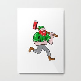Paul Bunyan Lumberjack Axe Running Cartoon Metal Print