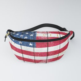 Distressed American Flag On Wood Planks - Horizontal Fanny Pack
