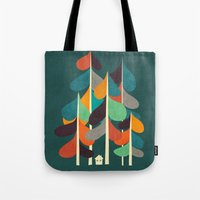 cabin Tote Bags featuring Cabin in the woods by Picomodi