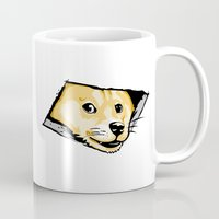 doge Mugs featuring Ceiling Doge by Jimiyo