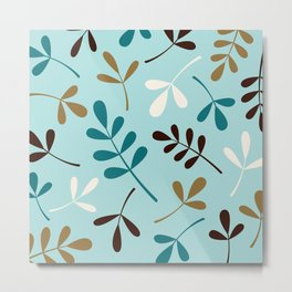 Assorted Leaf Silhouettes Teals Cream Brown Gold Metal Print