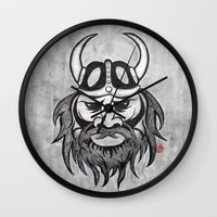 viking Wall Clocks featuring Viking by Brushespapers