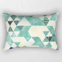 Abstract Green Triangles, Watercolor Pattern Rectangular Pillow