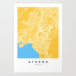 Athens, Greece Map | Yellow & Blue Colors Art Print