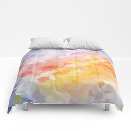 Sunrise in early spring abstract watercolor background Comforters
