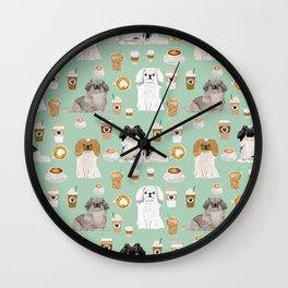 Pekingese dog breed dog pattern pet portraits coffee food dog breeds pet friendly Wall Clock