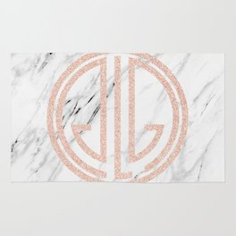 great Gatsby rose gold black and white marble Rug