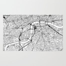 London White Map Rug