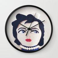 rockabilly Wall Clocks featuring Rockabilly Sailorgirl by A Little Vintage