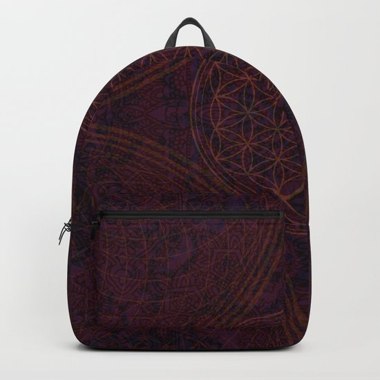 'Nirvana's Within' Burgundy Purple Red Gold Bohemian Design Backpack