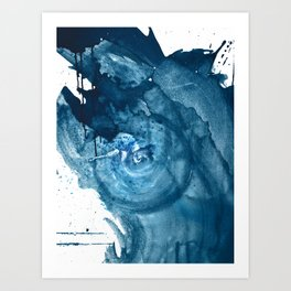 4 am Thoughts [3]: a minimal abstract painting in blue by Alyssa Hamilton Art Art Print