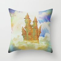 castle in the sky Throw Pillows featuring castle in the sky by Ancello