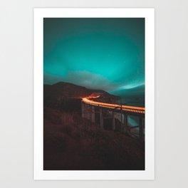 Bixby Bridge Light Trail Art Print