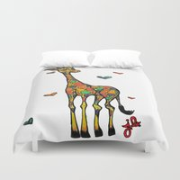 onesie Duvet Covers featuring Giraffe Love by Just Bailey Designs
