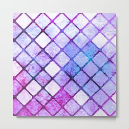 Purple Tiled Geometric Design Metal Print