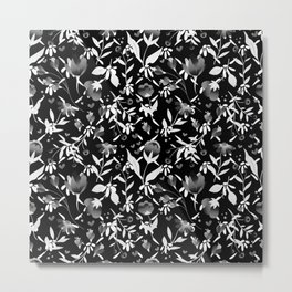 Colourscape Summer Floral Pattern Black and White Metal Print