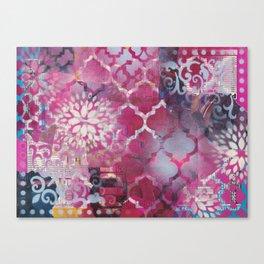 Mixed Media Layered Patterns - Deep Fuchsia Canvas Print