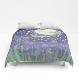 Moonlit stars, luna moths, snails, & irises Comforters