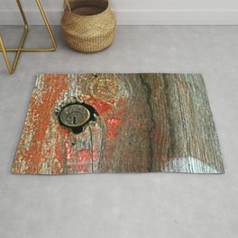 Weathered Wood Texture with Keyhole Rug