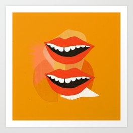 Lips (Orange) Art Print
