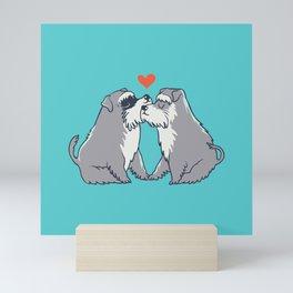 Schnauzer kisses Mini Art Print