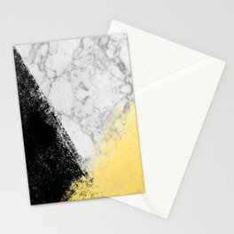 Marble with Black & Gold - gold foil, gold, marble, black and white, trendy, luxe, gold phone Stationery Cards