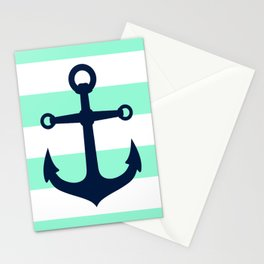 NAVY ANCHOR ON MINT Stationery Cards