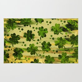Irish Shamrock -Clover Abstract Gold and Green pattern Rug