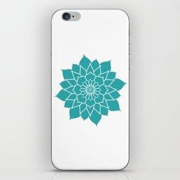 Teal mandala flower, geometrical floral pattern iPhone Skin