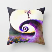 nightmare before christmas Throw Pillows featuring Nightmare Before Christmas by Melanie Tassone Art