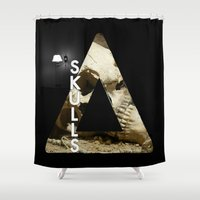 bastille Shower Curtains featuring Bastille - Skulls by Thafrayer