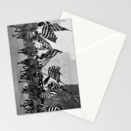 Children Running With American Flags in NYC (1917) Stationery Cards