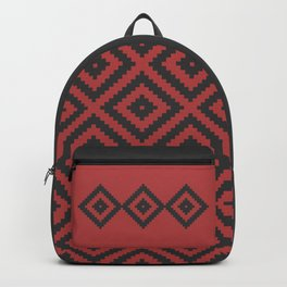 Traditional geometric pattern in modern colors, red Backpack