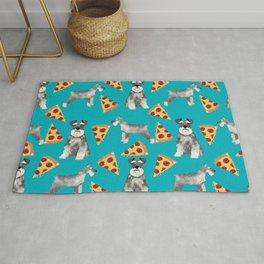 schnauzer pizza dog breed pet pattern dog mom Rug