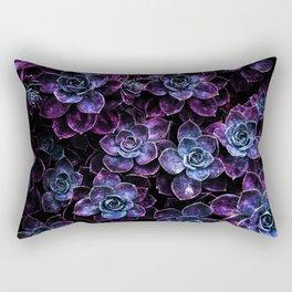 Sparkle Succulents Purple Blue Aqua Rectangular Pillow