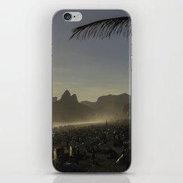 Sunset at Ipanema Beach with Pam Trees iPhone Skin
