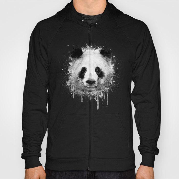 Cool Abstract Graffiti Watercolor Panda Portrait In Black White Hoody By Badbugsart