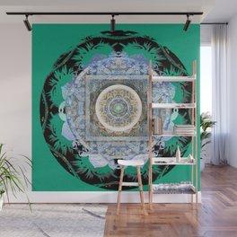 Harmonic Blue Green Tibetan Hybrid Boho Mandala Stamp Wall Mural