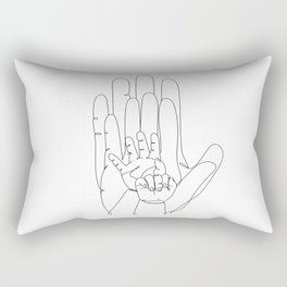 Family of Four Hands One Line Drawing Rectangular Pillow