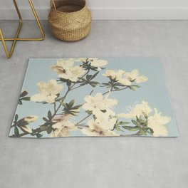 Minimal Art Watercolor Flower Soft Blue Rug